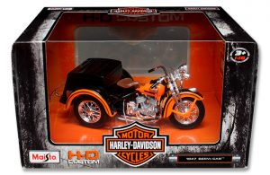HARLEY DAVDISON SIDE CAR & SERVI CAR - ORANGE at diecastdepot