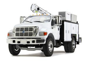 Ford F-650 in White with Maintainer Service Body at diecastdepot