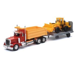 Peterbilt Single Dump Truck W/ Wheel Loader at diecastdepot