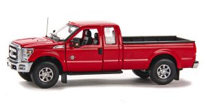 2016 Ford F250 XLT Pickup Truck with Super Cab & 8' Bed - Red / Chrome at diecastdepot