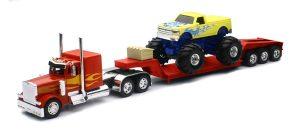 Peterbilt 379 Lowboy with Monster Truck at diecastdepot