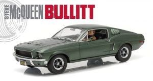 1968 Ford Mustang GT Fastback Bullitt - Highland Green with Steve McQueen Figure driving at diecastdepot