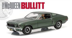 1968 Ford Mustang GT Fastback Bullitt - Highland Green with Steve McQueen Figure driving at diecastdepot