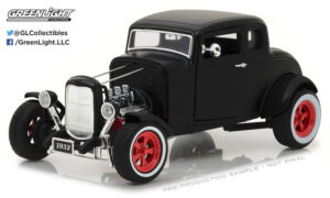 1932 Custom Ford Hot Rod Matte Black with Red 5-Spoke Wheels, Whitewall Tires at diecastdepot