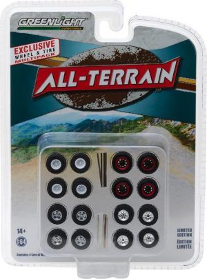 All-Terrain Wheel & Tire Pack - 16 Wheels, 16 Tires, 8 Axles at diecastdepot