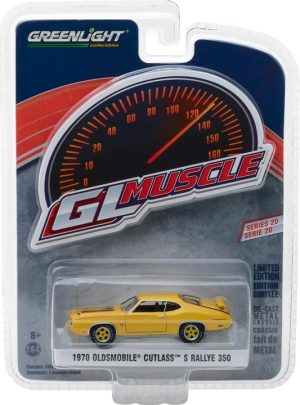 1970 Oldsmobile Cutlass Rallye 350 - Sebring Yellow -GreenLight Muscle Series 20 at diecastdepot
