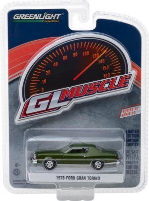 1976 Ford Gran Torino - Dark Green Metallic- GreenLight Muscle Series 20 at diecastdepot