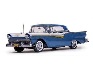 1957 Ford Fairlane 500 Skyliner- Dresden Blue/Colonial White at diecastdepot