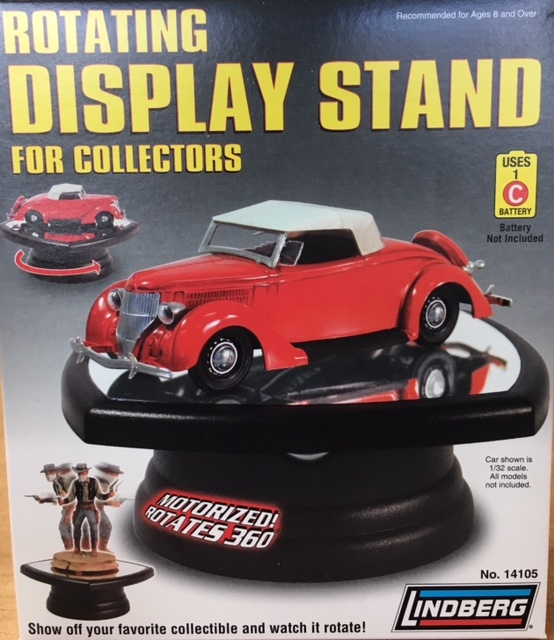 "Rotating Display Stand with glass top (5"" x 5"" x 2.5""H) by Lindberg at diecastdepot"