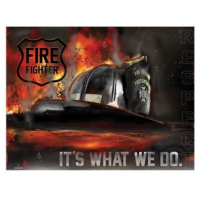Sign - Fire Helmet - It's What We Do, Respect at diecastdepot