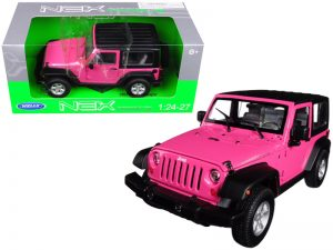 2007 Jeep Wrangler Rubicon - Pink with black top at diecastdepot