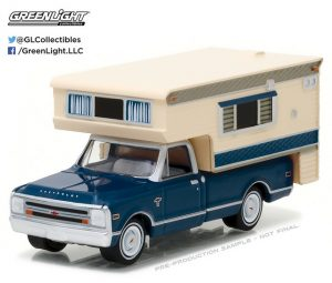 1968 Chevrolet C-20 Pick up Truck with large camper at diecastdepot