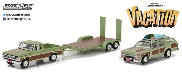 """1972 Ford F-100 Truck with 1979 Family Truckster """"Wagoneer"""" on Flatbet Trailer at diecastdepot"""