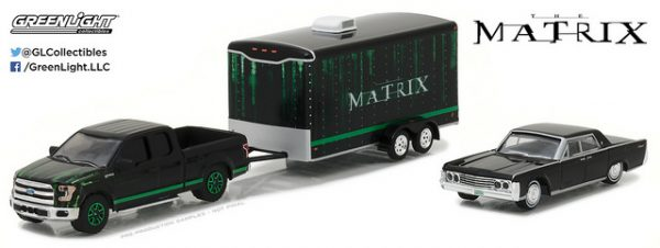 2015 Ford F150 Truck with 1965 Lincoln Continental in Enclosed Car Hauler at diecastdepot