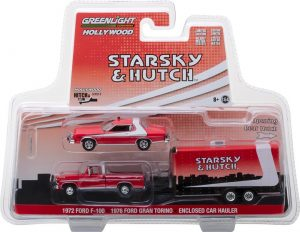 1972 Ford F-100 with 1976 Ford Gran Torino in Enclosed Car Hauler - Hollywood Hitch & Tow Series 5 - Starsky and Hutch (TV Series 1975-79) at diecastdepot