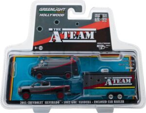 2015 Chevy Silverado with 1983 GMC Vandura with Bullet Holes in Enclosed Car Hauler - The A-Team (TV Series, 1983-87)  at diecastdepot