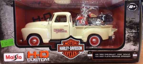 1950 Chevrolet 3100 Pick up truck w/2001 Harley Davdison FLSTS Heritage Springer at diecastdepot