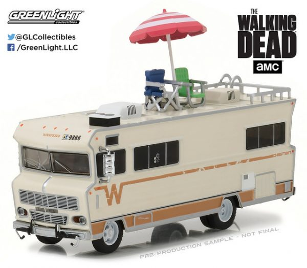 Dale's 1973 Winnebago Chieftan with Umbrella and Camping Chairs - The Walking Dead (TV Series, 2010-Current) at diecastdepot
