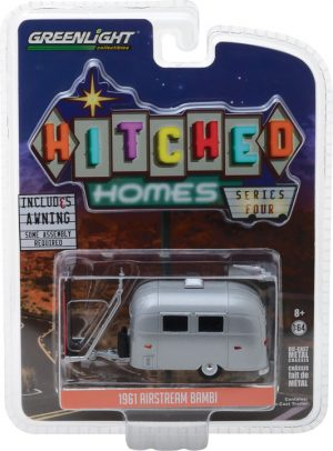 Airstream 16' Bambi with Red and White Awning -Hitched Homes Series 4 at diecastdepot
