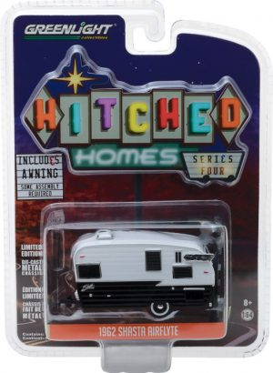 Shasta Airflyte - Black and White with Awning -Hitched Homes Series 4 at diecastdepot