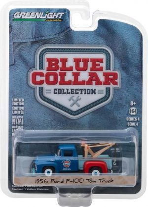 1956 Ford F-100 Tow Truck - Mel's Garage Gulf Oil-Blue Collar Collection Series 4 at diecastdepot