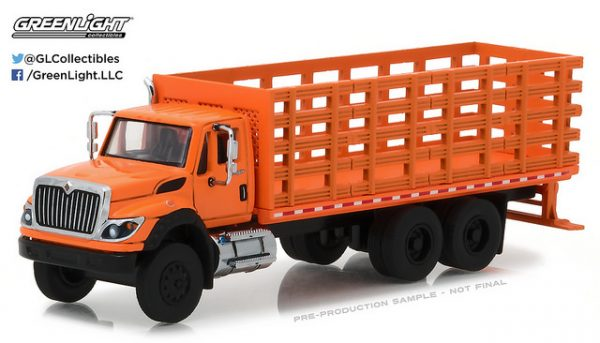 2017 International Work Star Stake Truck - Orange at diecastdepot