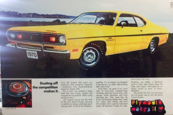 1970 Plymouth Valiant Duster 340 Coupe Original Ad Poster at diecastdepot
