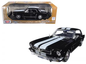 1964 1/2 Ford Mustang Hardtop - Black with white stripes at diecastdepot