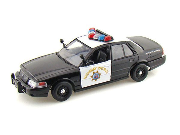 2010 Ford Interceptor California Highway Patrol black and white police car at diecastdepot