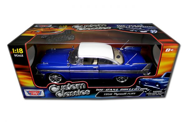 1958 Plymouth Fury, Blue With White Roof at diecastdepot