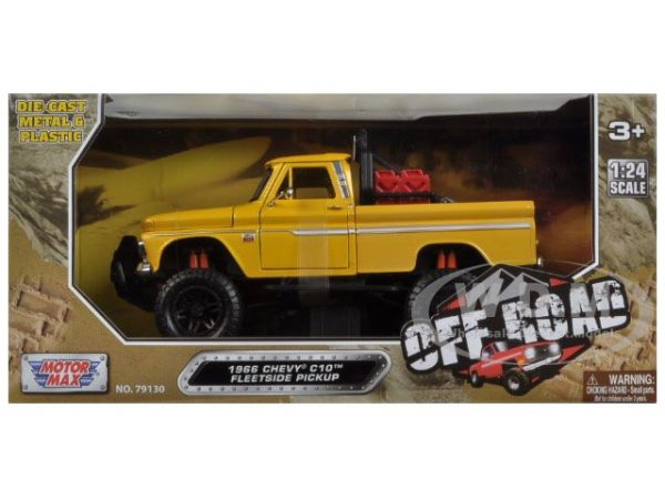 1966 Chevy C10 Fleetside Pick Up Truck - OFF ROAD (YELLOW) at diecastdepot