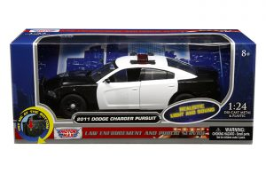 2011 Dodge Charger Pursuit, Black and White, with Lights and Sounds at diecastdepot
