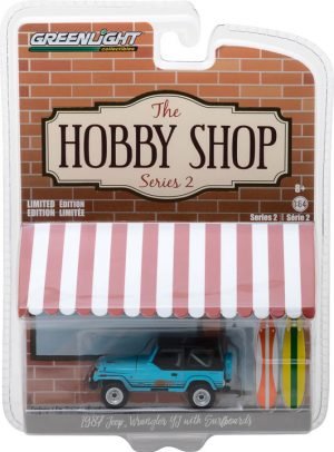1987 Jeep Wrangler YJ with Surfboard-The Hobby Shop Series 2 at diecastdepot