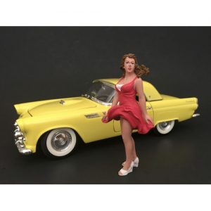 1970'S STYLE FIGURINE VIII - GIRL IN RED DRESS (CAR NOT INCLUDED) at diecastdepot