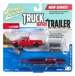 2004 Ford F-250 (Red) Pick Up Truck & Open Trailer at diecastdepot