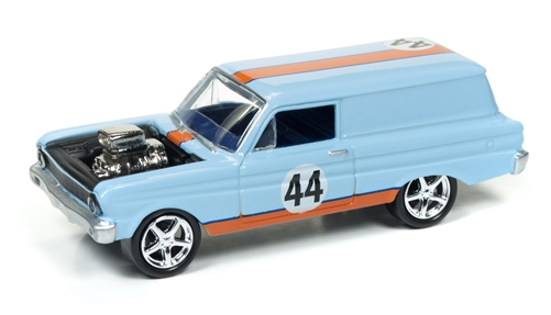 1964 Ford Falcon Delivery (Spoilers) (Gulf Blue / Orange) at diecastdepot
