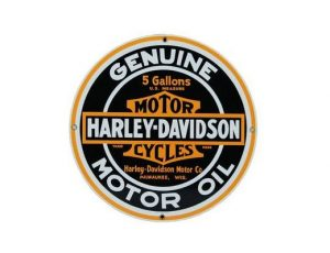 HARLEY DAVIDSON OIL ROUND EMBOSSED METAL SIGN