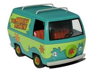 THE MYSTERY MACHINE FROM SCOOBY DOO CARTOON WITH NON REMOVABLE SCOOBY DOO AND SHAGGY FIGURES