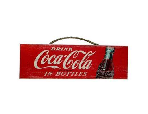Drink Coca-Cola in Bottles Wood Sign