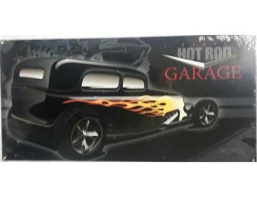 HOT ROD GARAGE METAL SIGN - BLACK