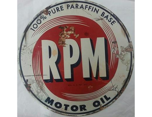 RPM MOTOR OIL ROUND METAL SIGN