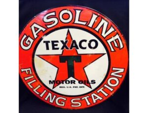 TEXACO MOTOR OILS ROUND METAL SIGN