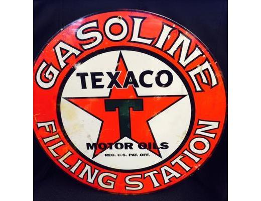 TEXACO MOTOR OILS ROUND METAL SIGN