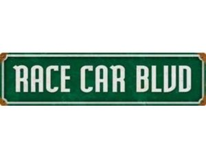RACE CAR BLVD METAL SIGN