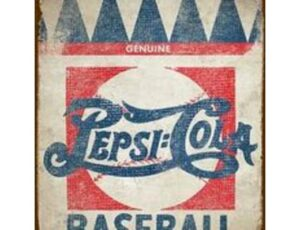 PEPSI BASEBALL METAL SIGN