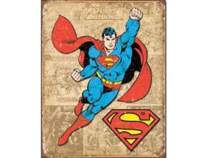 RETRO SUPERMAN WEATHERED METAL SIGN