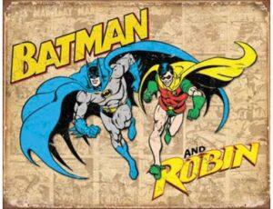RETRO BATMAN AND ROBIN WEATHERED METAL SIGN