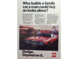 1972 DODGE CHARGER ORIGINAL AD POSTER