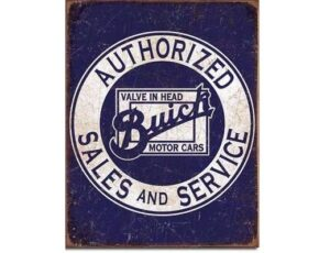 Authorized Buick Sales and Service Metal Sign