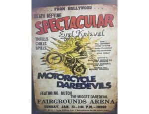 EVIL KNIEVEL AND HIS MOTORCYCLE DAREDEVILS METAL SIGN